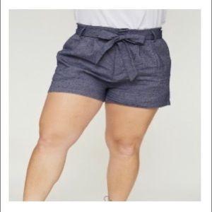 high waisted tie shorts denim blue plus size 2x